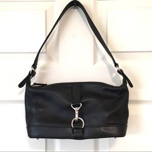 Talbots genuine leather black purse with silver